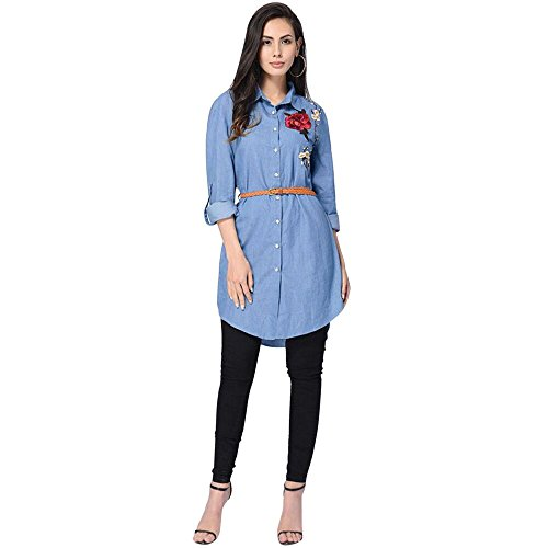 Embroidered Shortalls (Gillberry Women Long Sleeve Rose Embroidered Long Shirt Dress Party Top Shirts (XXL, Blue))