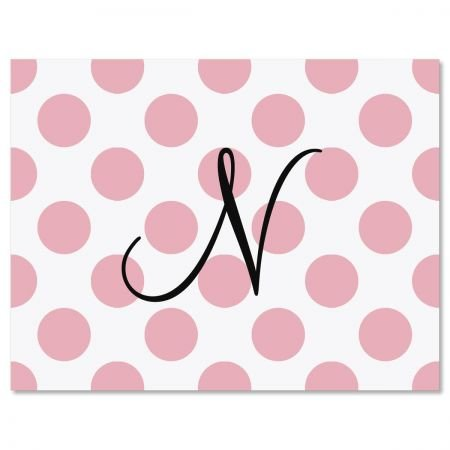 Dots Initial Monogram Personalized Note Cards - Set of 12 4-1/4