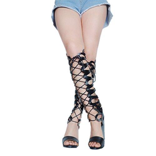 Kolnoo Femmes Sandales à Talons Compensés à Lacets Crosscriss à Lacets Black SlQ36