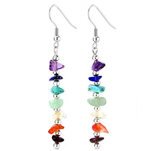 JewelrieShop Birthday Stone Chip Crystal Gemstones Semi Precious Beaded Dangle Earrings, Long with Fish Hook, Hypoallergenic