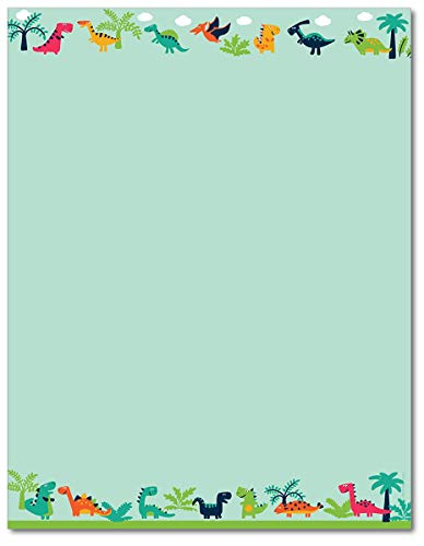 Happy Dinosaur Stationery Paper - 80 Sheets - For Themed Parties or Birthday Parties