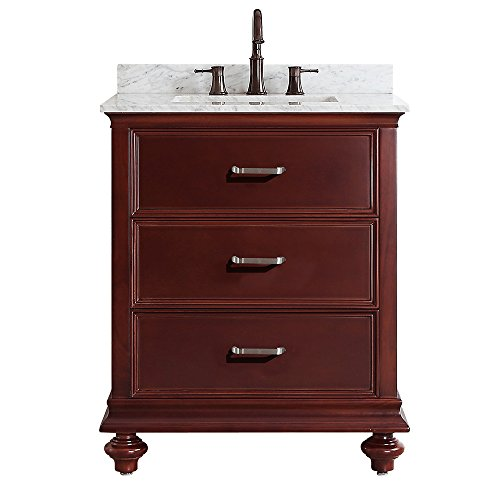 Vinnova 716030-AC-CA-NM Modern Venice 30 inch Vanity In Antique Cherry with Carrera White Marble Countertop Without Mirror,