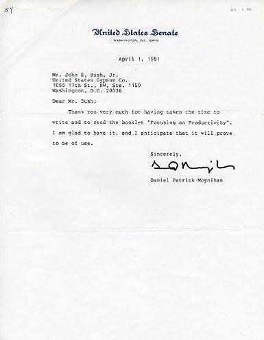 senator daniel patrick moynihan typed letter signed 04011981