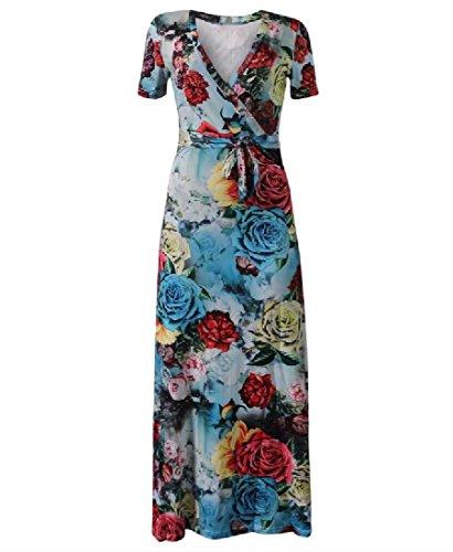 V Folk Style Bechwear Cross Maxi Bohemian Coolred Floral 10 Dress Women Neck qpUwHt