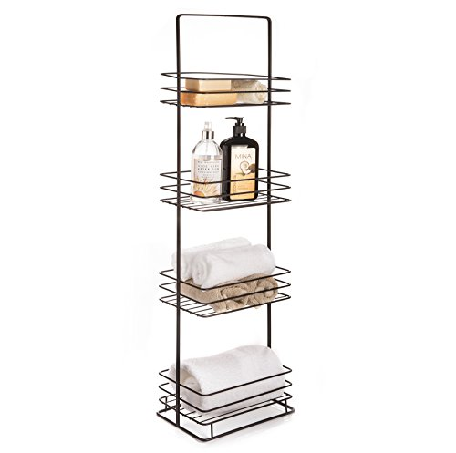 AMG and Enchante Accessories Free Standing Bathroom Spa Tower Storage Caddy, FC100002 ORB, Oil Rubbed Bronze - 4 Spacious Shelves to store towels, soap, tissue, books, wet wipes, perfume, makeup, and more! Free Standing design allows holder to be placed anywhere on your counter, perfect for small bathrooms , large bathrooms, apartments, or dorms. Conveniently fits into corners to maximize efficiency. - shelves-cabinets, bathroom-fixtures-hardware, bathroom - 41kxmh3F3DL -