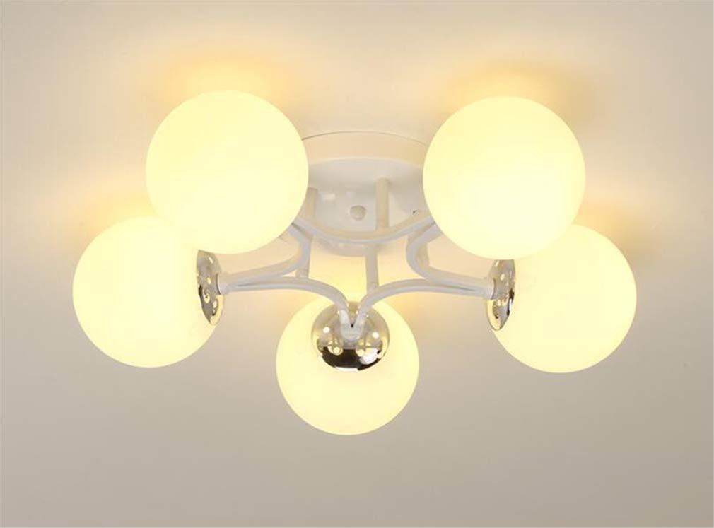 天井ランプ、錬鉄製のガラス現代のミニマリストスタイルの創造的な寝室のリビングルームレストランラウンジ B/White  B/White B07TQS6HFC