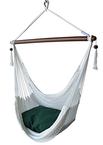 Caribbean Hammocks Chair with Footrest – 40 inch – Soft-Spun Polyester – (White) For Sale