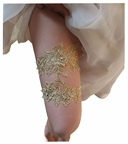 Wedding garters for bride sequins lace bridal garter set (gold) ()