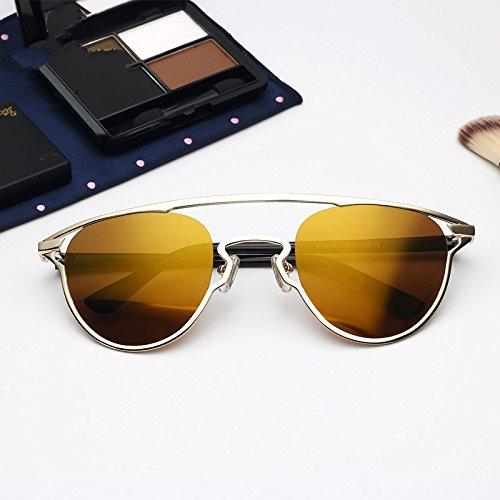 Doble Oro Mujer Atrás Puente Marrón Brown Para De Gold Piernas Gafas Cat Reflejo De Tr90 Anti Gafas Eye TIANLIANG04 Uv400 Sol Gafas qxwH4HA