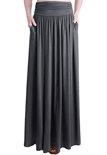 TRENDY UNITED Women's Rayon Spandex High Waist Shirring Maxi Skirt with Pockets (CCL, ()