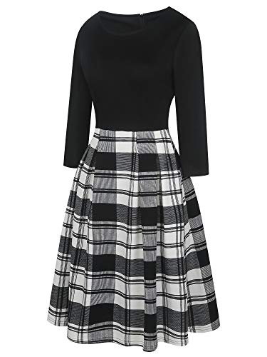 oxiuly-Womens-Vintage-Patchwork-Pockets-Puffy-Swing-Casual-Party-Dress-OX165