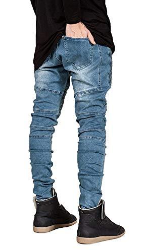 Strappati Pantaloni Slim A Stretch Da Motociclista Denim In Fit Casual Pieghe Giovane Jeans Blau Lavati Vintage Uomo xYnTt7xR