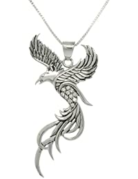 Jewelry Trends Sterling Silver and CZ Eagle Phoenix Pendant on 18 Inch Box Chain Necklace