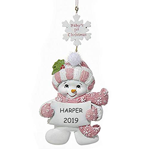 Personalized Baby's 1st Christmas Snowman Ornament (Pink)