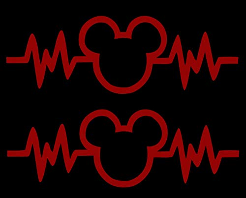 Signage Cafe Mickey Mouse Heartbeat 2PK - Car Truck Vinyl Decal Art Wall Sticker Disney Fun Adorable Cute Life (Red, 8