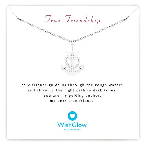 WishGlow True Friendship Love Anchor Gift Necklace, The Perfect Meaningful Gift for Friends (Birthdays, Holidays, Special Occasions), 18
