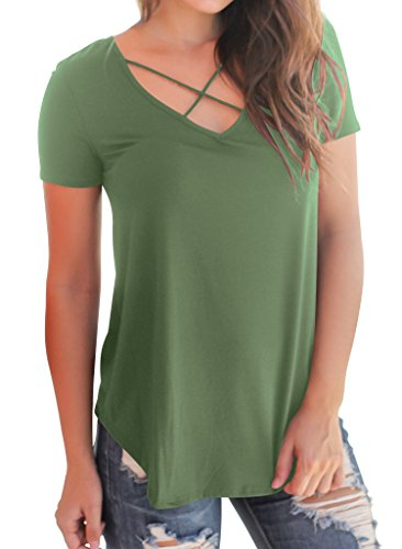 Women's Loose Casual Tunic up Front Cross T Top Short Sleeve Lace Green Shirt Bodycon4U Basic Criss dOqzAvnwd