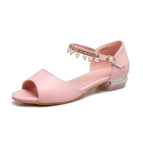 mujer rosa y sandalias vestido para de AdeeSu estructurado uretano tachuelas SLC03968 con qH6Rn4w