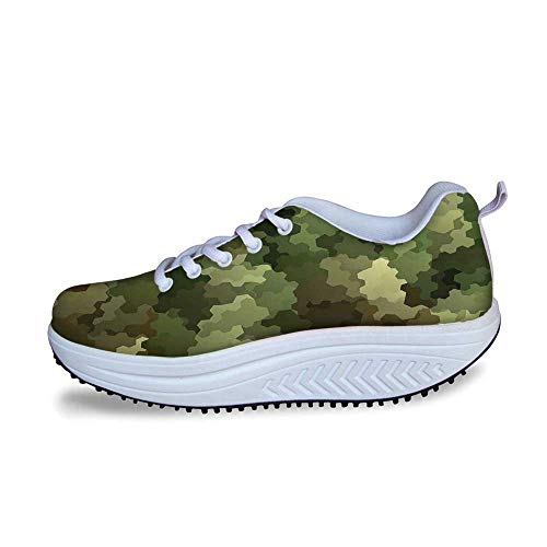 YOLIYANA Camo Cool Shake Shoes,Frosted Glass Effect Hexagonal Abstract Being Invisible Woodland Army for Women,US Size9