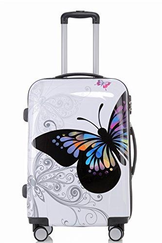 Reisekoffer 2060 Hartschalen Trolley Kofferset in 12 Motiven SET--XL-L--M-- Beutycase (Butterfly, M(Handgepäck))