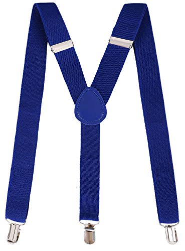 Unisex Clip-On Suspender By Livingston Adjustable Elastic Suspenders, Royal -