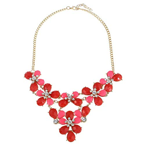 Cyan Chunky Crystal Statement Flower Necklaces for Women Party Girls Long Choker Jewelry (Red)