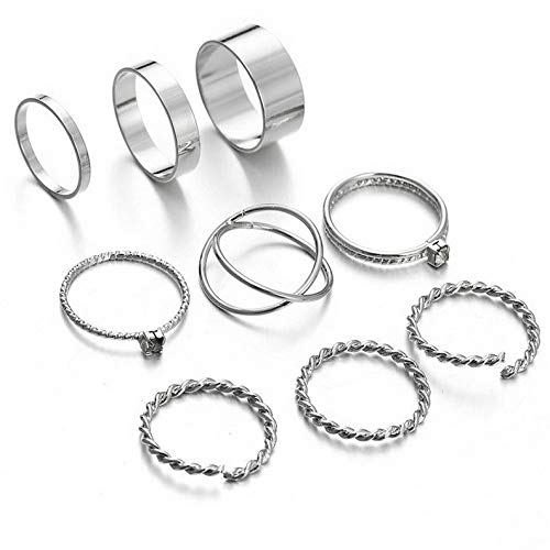 Campton 9Pcs Vintage Bohemian Crystal Retro Geometry Silver Gold Boho Finger Ring Set   Model RNG - 11965  