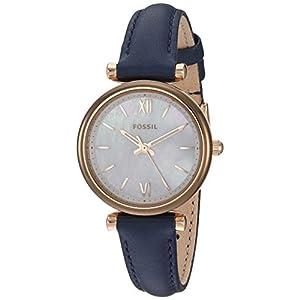 Fossil Women's Carlie Mini Quartz Leather Watch, Color: Blue (Model: ES4502)