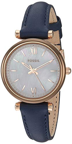 Fossil Women's Mini Carlie Stainless Steel Quartz Watch with Leather Strap, Blue, 10.9 (Model: ES4502) - Ladies Fossil Mini