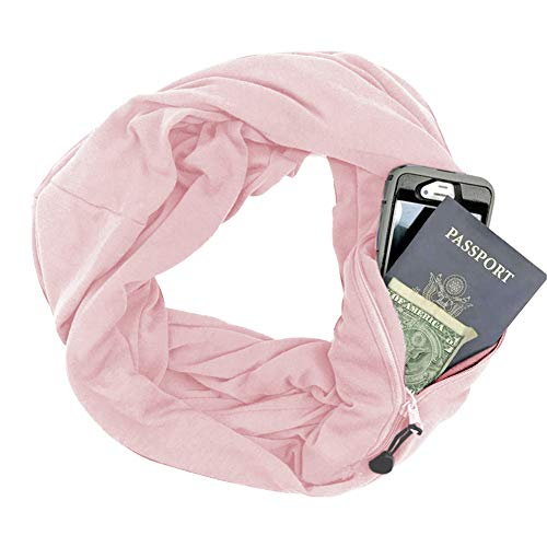 (Zipper Pocketed Travel Scarf,Infinity Scarf with Pocket (Pink))