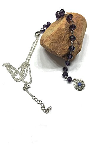 Lariat Style Purple Crystal Necklace. Similar to Celebrity Favorites. Metal Accents, Pendant Center - Style Anniston Jennifer
