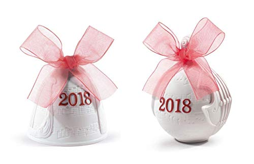 Lladro 2018 Christmas Bell & Christmas Ball Set in Red #18439 & #18436
