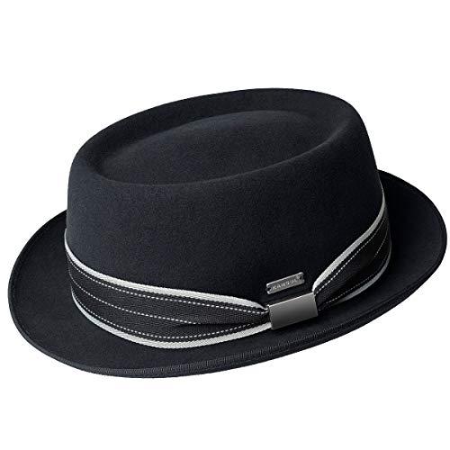 Fedora Kangol Hats (Kangol Men Litefelt Stripe Pork Pie Black L)