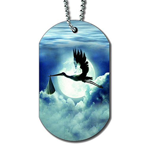 Stork Baby In Flight - Dog Tag Necklace ()