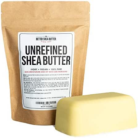 Unrefined African Shea Butter - Ivory, 100% Pure & Raw - Moisturizing and Rich Body Butter for Dry Skin - Suitable for All Skin Types - Use Alone or in DIY Whipped Body Butters - 16 oz (1 LB) Bar