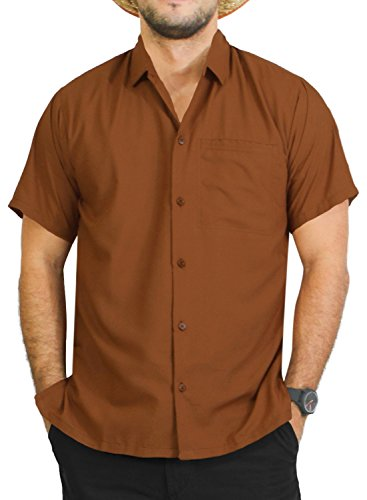 LA LEELA Rayon Loose Camp Party Men's Shirt Brown Medium | Chest 40