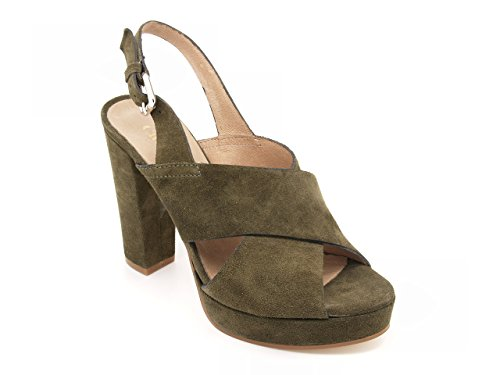 Carmens padova - Sandalias de vestir de ante para mujer verde Kaki