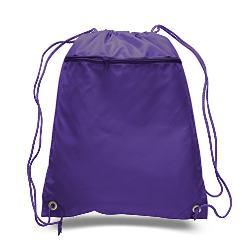 Price comparison product image BagzDepot Promotional Polyester Drawstring Backpack, Cinch pack, Sack bag (Pack of 12, Purple)