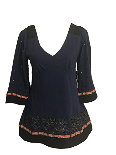 Anthropologie C Keer Embellished Tunic Top Size S