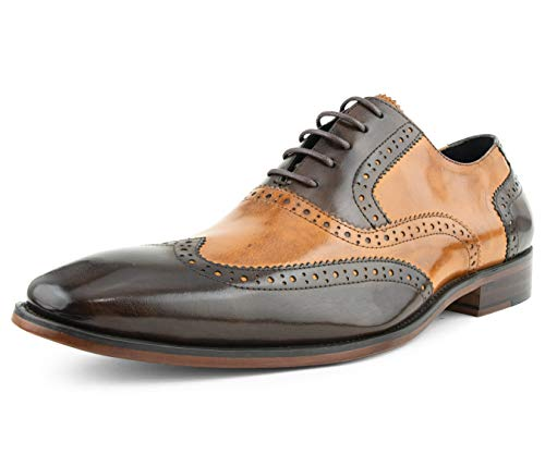 (Asher Green Mens Two Tone Genuine Calf Leather Wingtip Spectator Oxford Dress Shoe, Low-Top or High-Top Cognac)