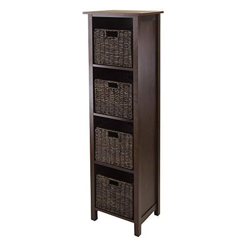 Granville Storage Shelf - Winsome Granville 5 Piece Wodden Storage Shelf, 4-section with 4 Foldable Baskets
