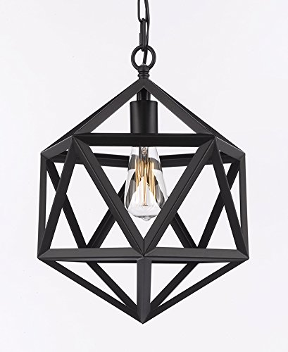 Wrought Iron Polyhedron Vintage Barn Metal Pendant Chandelie