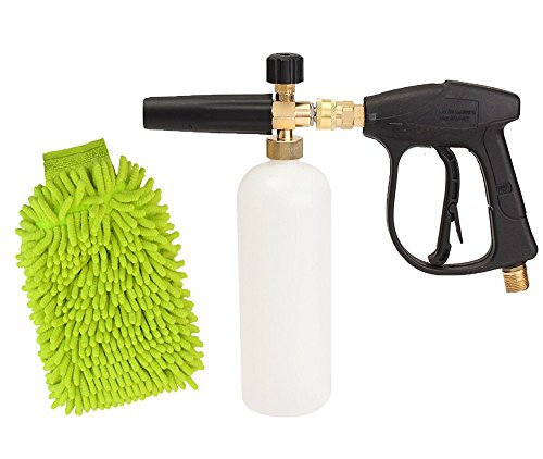Kungfu Mall High Pressure Washer Gun Snow Foam Lance Car Wash Cannon 3000 PSI 1/4″ Quick Release Car Wash Glove Cleaning Kit
