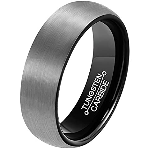 MNH Mens 6mm Comfort Fit Tungsten Carbide Wedding Band Black Brushed Matte Finish Rings Size 14 - Heavy Mens Wedding Band