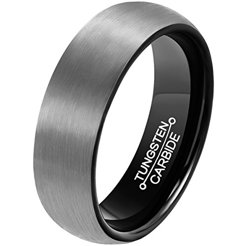 MNH Mens 6mm Comfort Fit Tungsten Carbide Wedding Band Black Brushed Matte Finish Rings Size 12 -