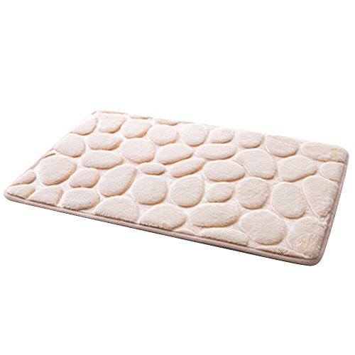 ne Style PVC Bathroom Memory Foam Rug Kit Toilet Pattern Bath Non-slip Mats Floor Carpet Set for Bathroom Decor (beige) (Cobblestone Floor Mat)