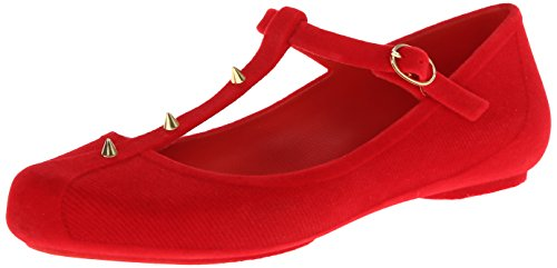 mel Dreamed by melissa Women's Show Mary Jane Flat,Red Flocked,10 M US