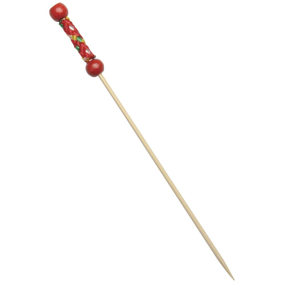 Eco Friendly Fuji 4 Inch Bamboo Pick with 2 Red Beads/Case of 2000 by FIRST PACK LLC PACKNWOOD (Image #1)