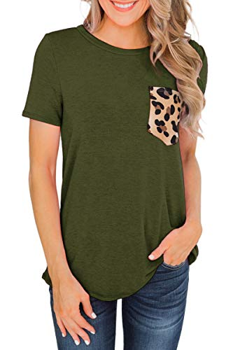 Beopjesk Women's Casual Short Sleeves Round Neck T Shirt Casual Basic Tops with Leopard Pocket Army Green