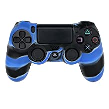 HDE PS4 Controller Skin Protective Case Cover Silicone Grip for PlayStation Dualshock 4 Gaming Controllers (Blue/Black Marble)